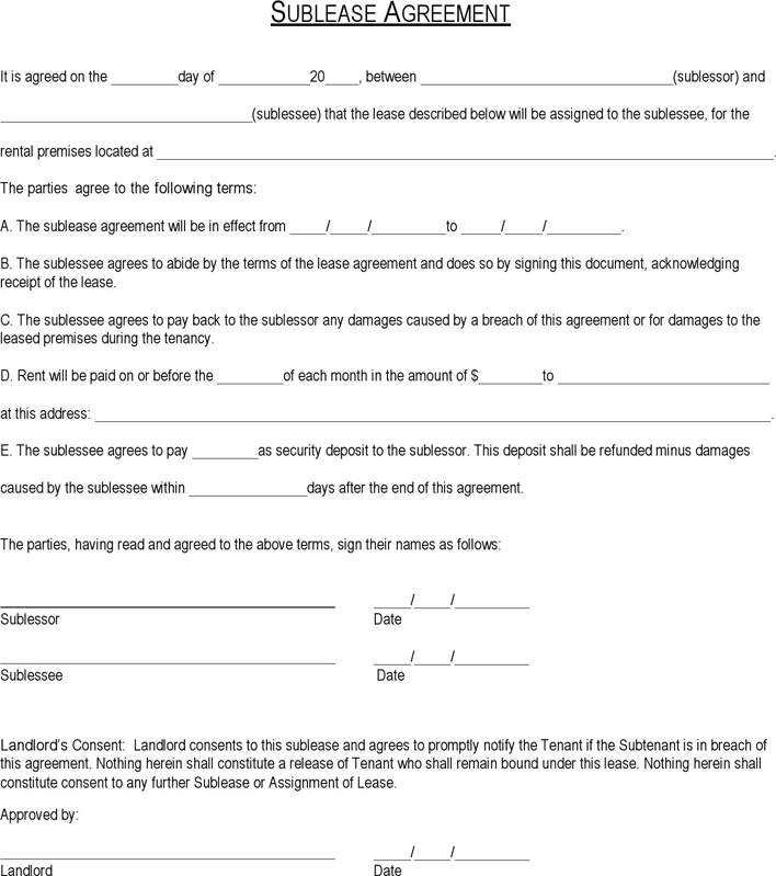 Connecticut Sublease Agreement Form