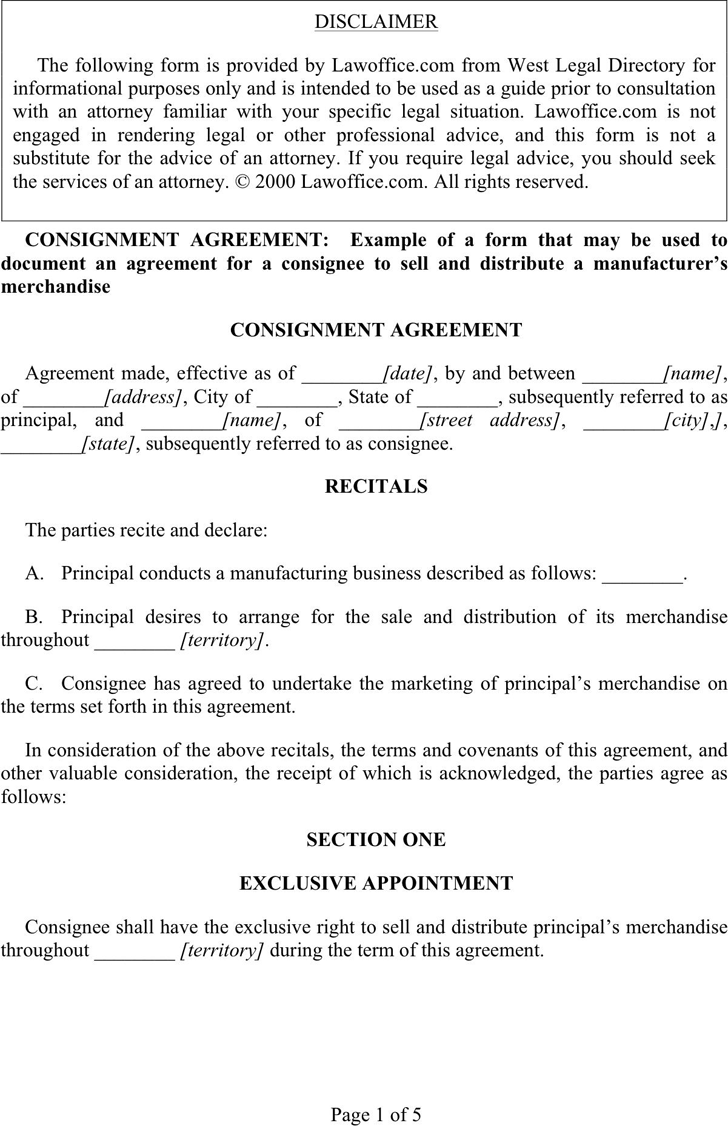 Free Consignment Agreement Template Dot 43kb 5 Page S