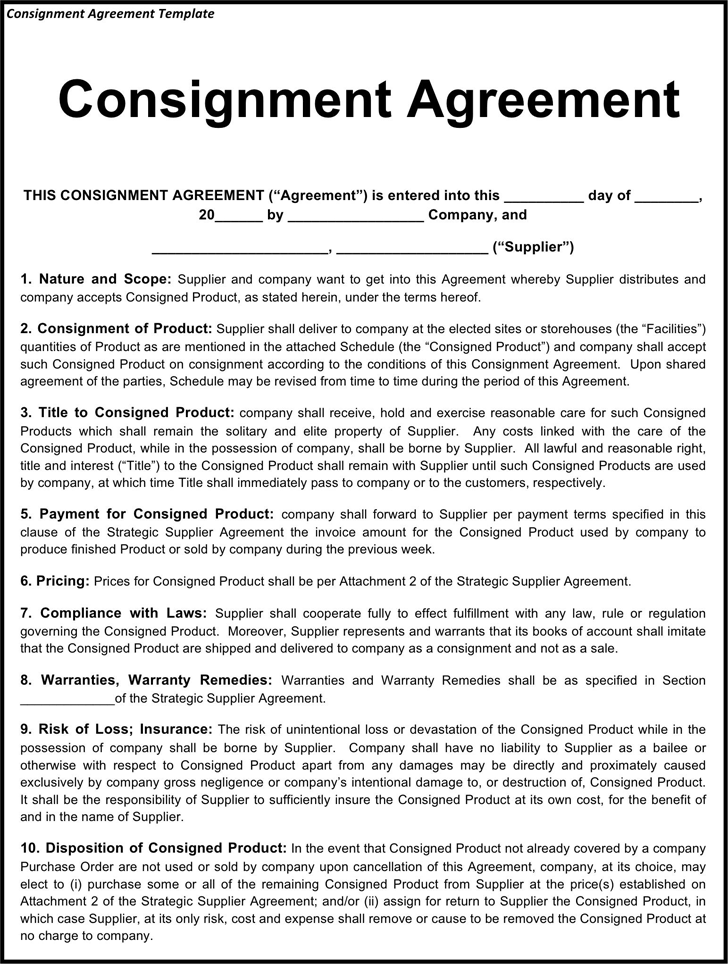 Consignment agreement template template free download speedy consignment agreement template 3 maxwellsz