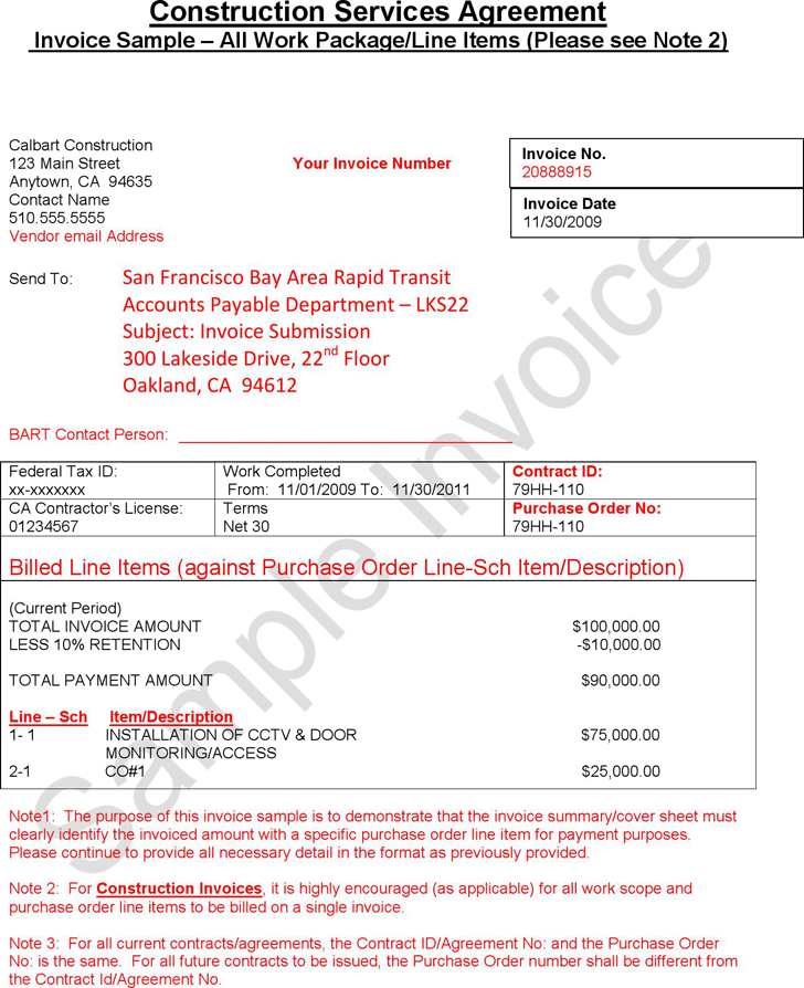 Free Construction Invoice Sample Pdf 253kb 2 Pages