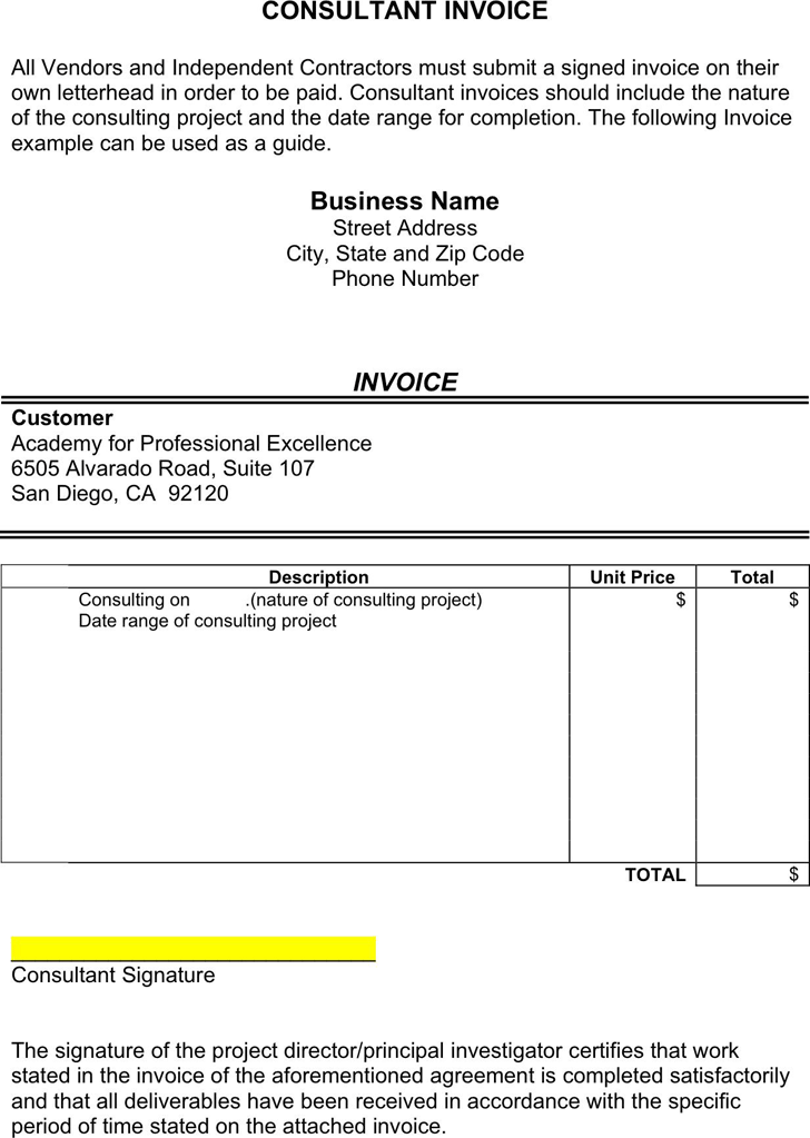 Consulting Invoice Template - Template Free Download | Speedy Template