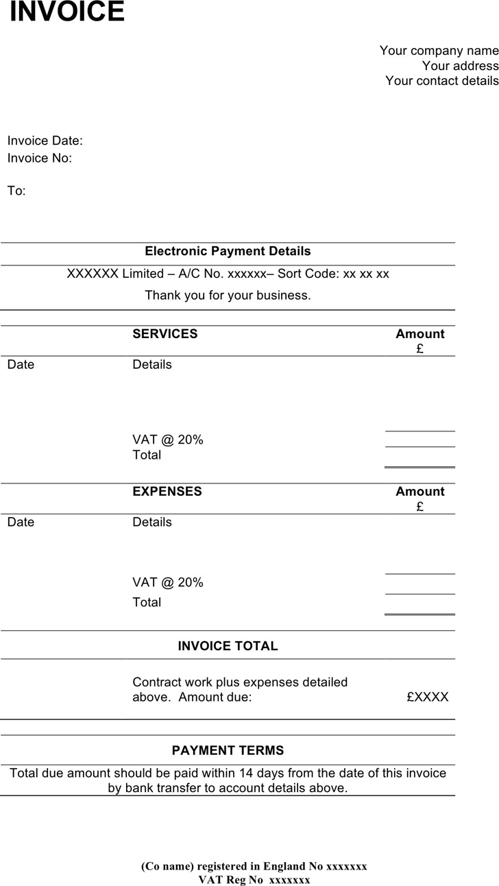 Contractor Invoice Template 1