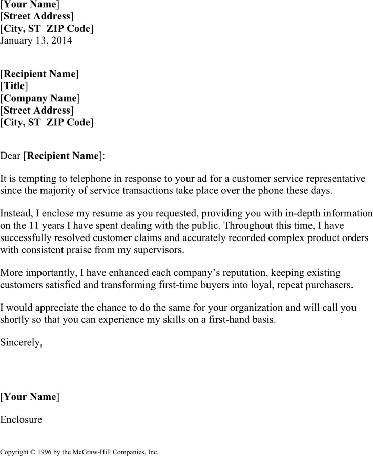 Free Cover Letter Template For Customer Service