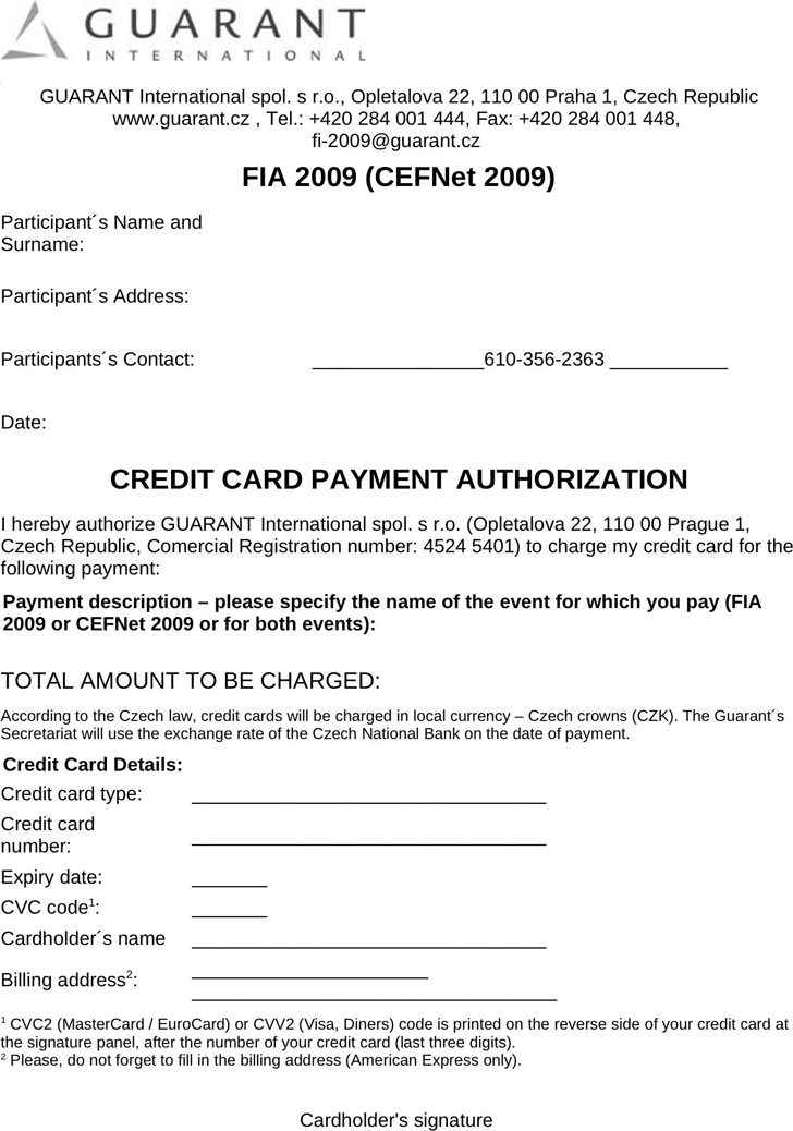 Authorization Letter To Use Credit Card from www.speedytemplate.com