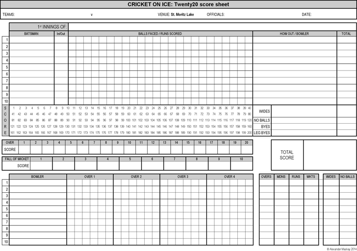 Cricket Score Sheet - Template Free Download | Speedy Template
