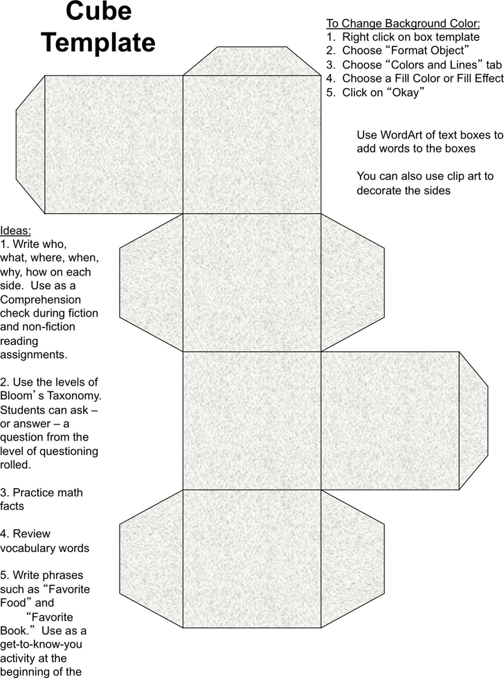 Cube Template For Teachers