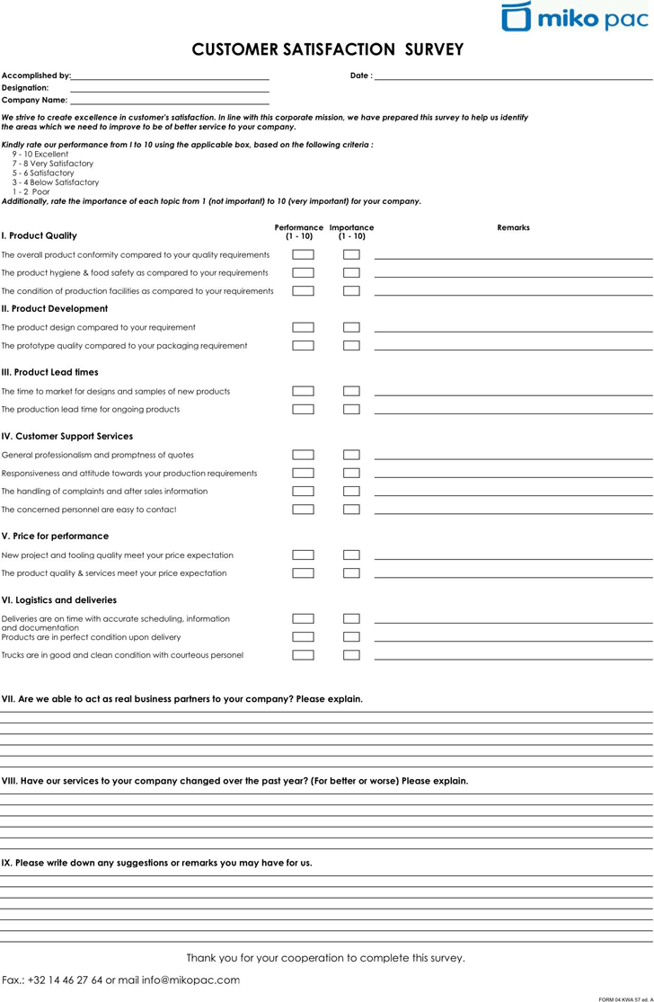 free customer satisfaction survey pdf 18kb 1 page s
