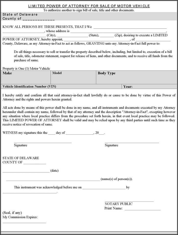 Free delaware motor vehicle power of attorney form pdf for Power of attorney to execute motor vehicle documents