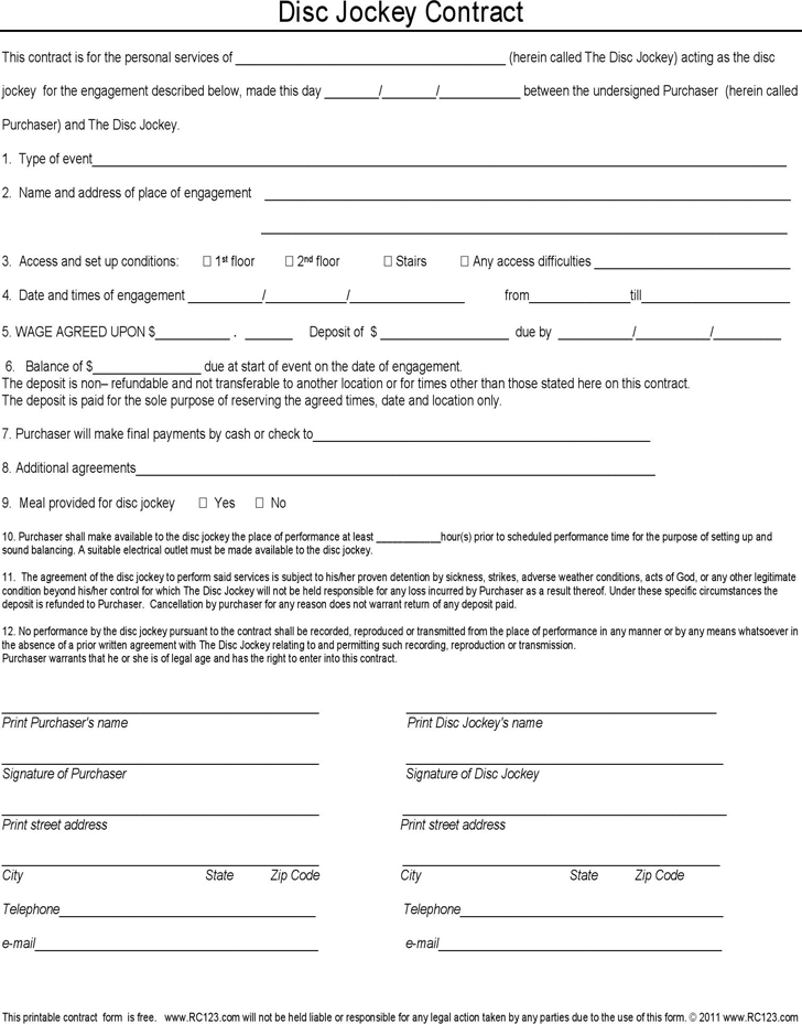 Dj Contract Template - Template Free Download | Speedy Template
