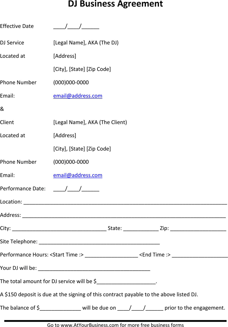 Dj Contract Template Template Free Download Speedy Template