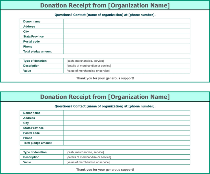 Free Donation Receipt Template Xltx 21kb 1 Pages