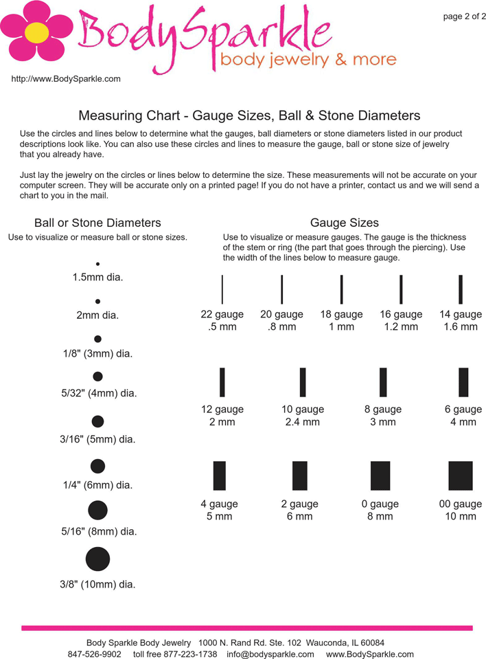 Free Ear Gauge Chart Pdf 52kb 2 Pages Page 2