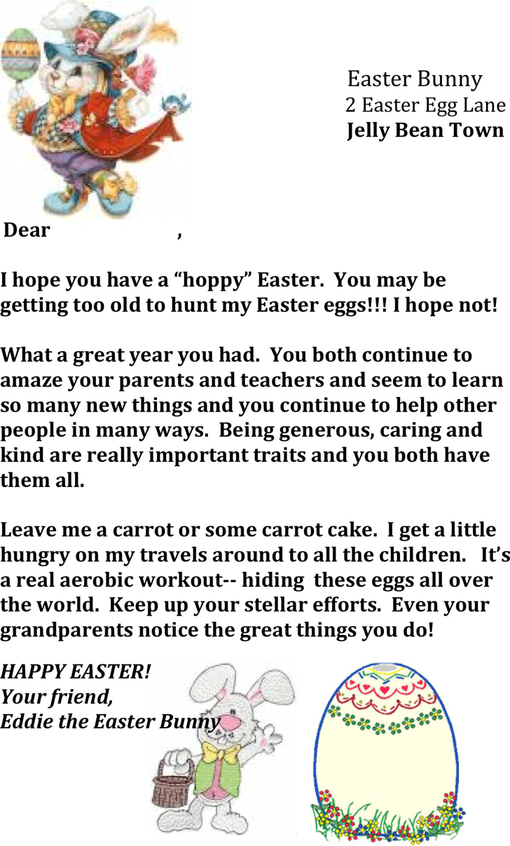 Easter Bunny Letter Template 2