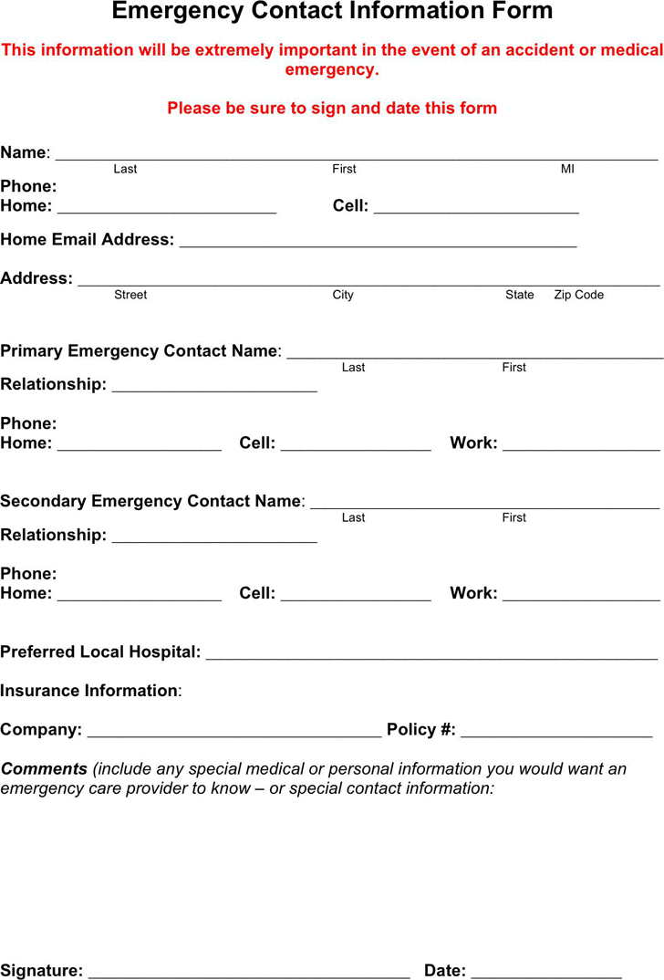 emergency contact template