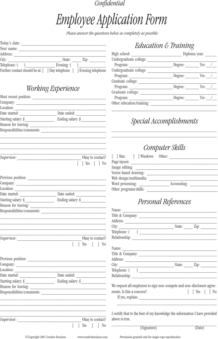 Employee Application Template Free Template DownloadCustomize – Employee Application