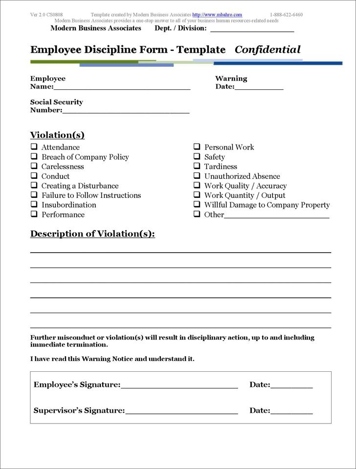free employee discipline templates pdf 102kb 1 page s. Black Bedroom Furniture Sets. Home Design Ideas