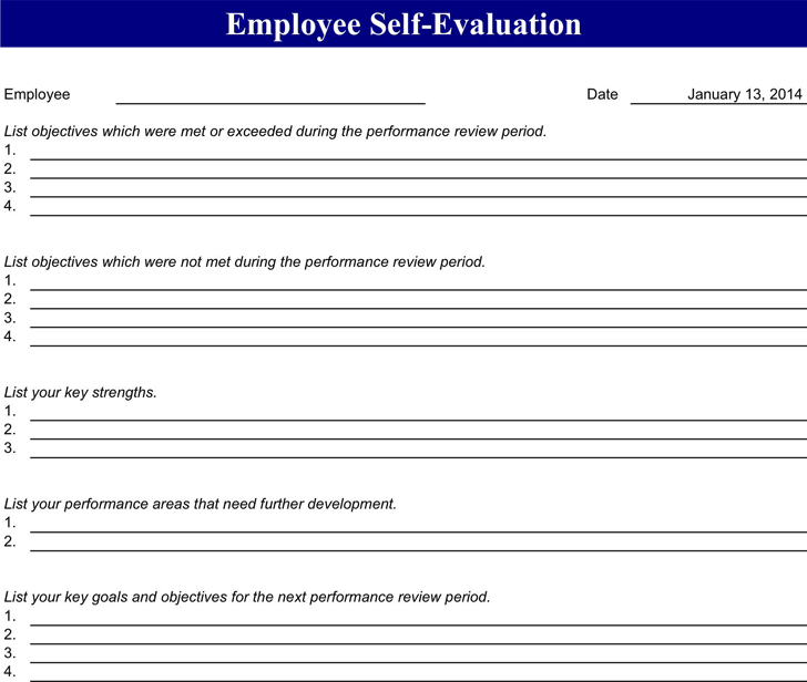 Employee Evaluation Form 4  Performance Evaluation Forms Free