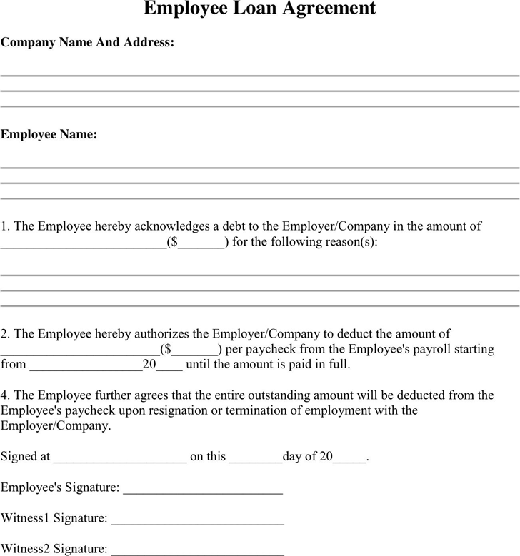 Employee Loan Agreement Template Free Download Speedy