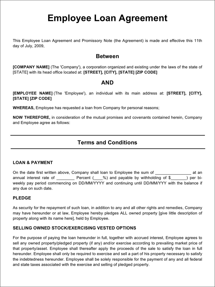 Employee Loan Agreement Template Free Download Speedy Template