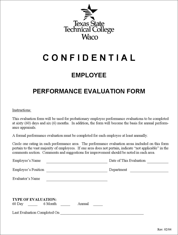Employee Performance Evaluation Template Free Template Download – Performance Evaluation Forms