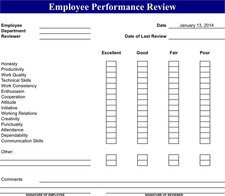 Employee Review Form 2  Employee Review Form Free Download