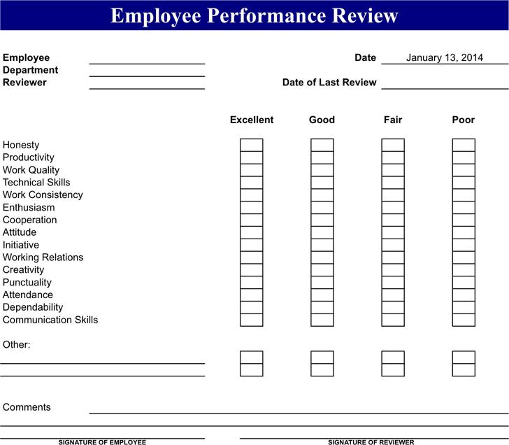 Employee Review Form 2  Employee Review Form Free Download