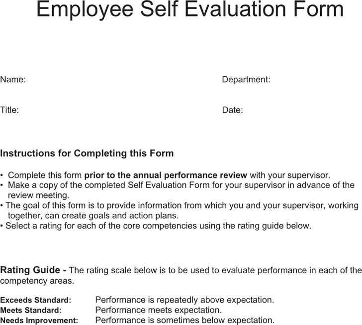 Free Employee Self Evaluation Form - PDF | 117KB | 10 Page(s)