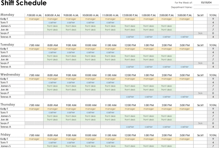 Free Employee Shift Schedule Xls 34kb 2 Page S