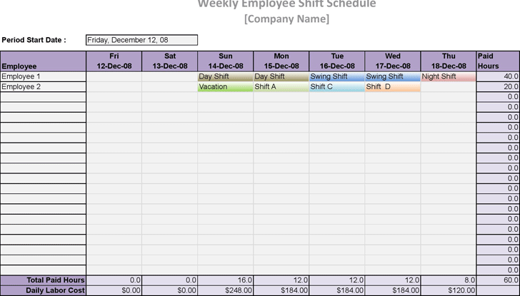 Employee Schedule Template - Template Free Download | Speedy Template
