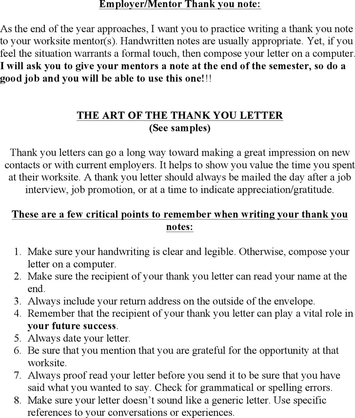 Free Employermentor Thank You Note Doc 31kb 2 Pages