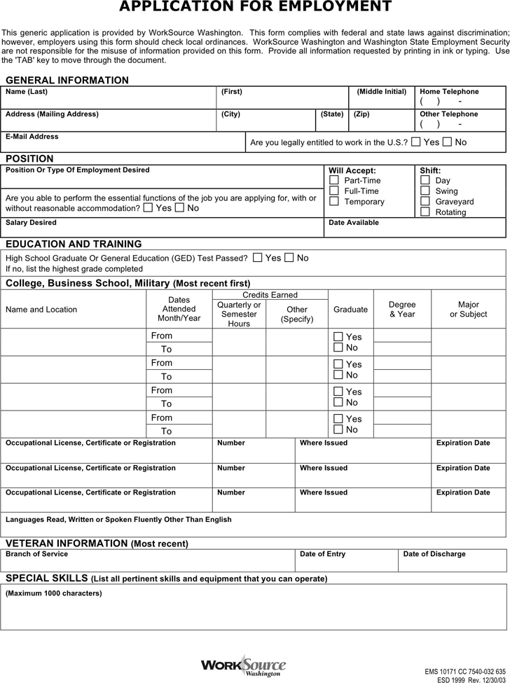 generic application for employment template free download speedy