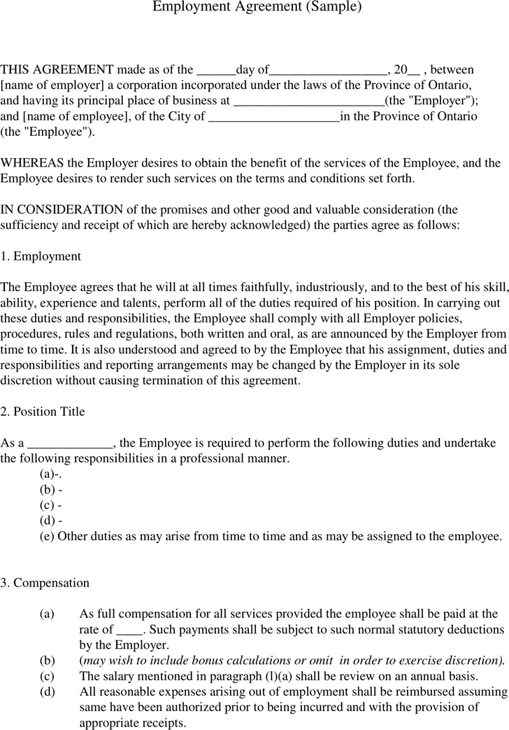 Employment Contract Template Template Free Download Speedy Template