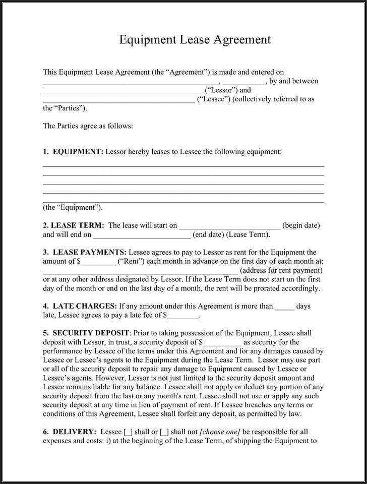 Equipment Lease Agreement - Template Free Download | Speedy Template