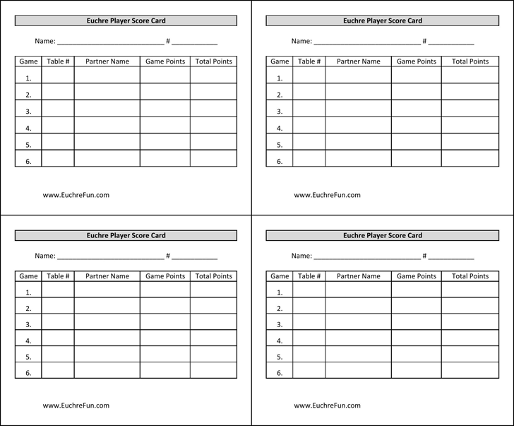 Euchre Score Cards Template Free Download Speedy Template