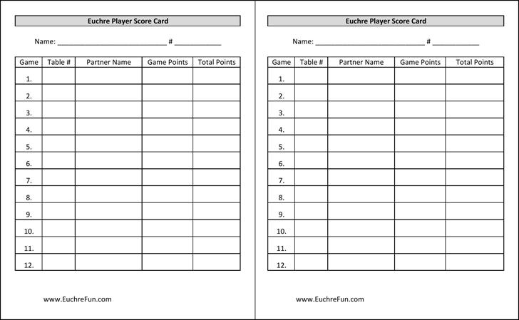 Euchre Score Cards Template Free Download – Euchre Score Card Template