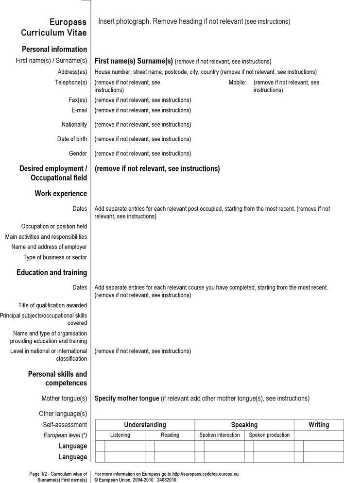 curriculum vitae europass model