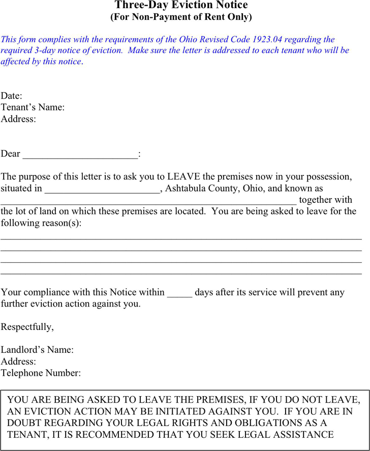 Eviction Notice Template Template Free Download – Tenant Eviction Notice Template