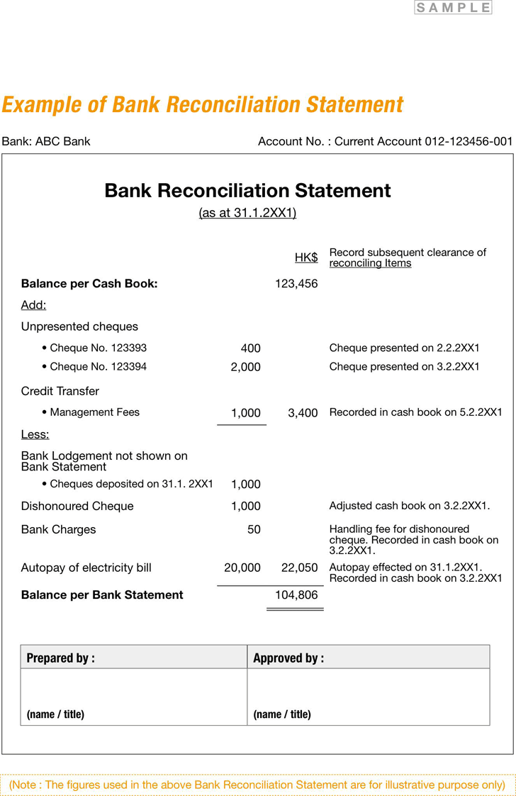 bank reconciliation statement example xls bank reconciliation