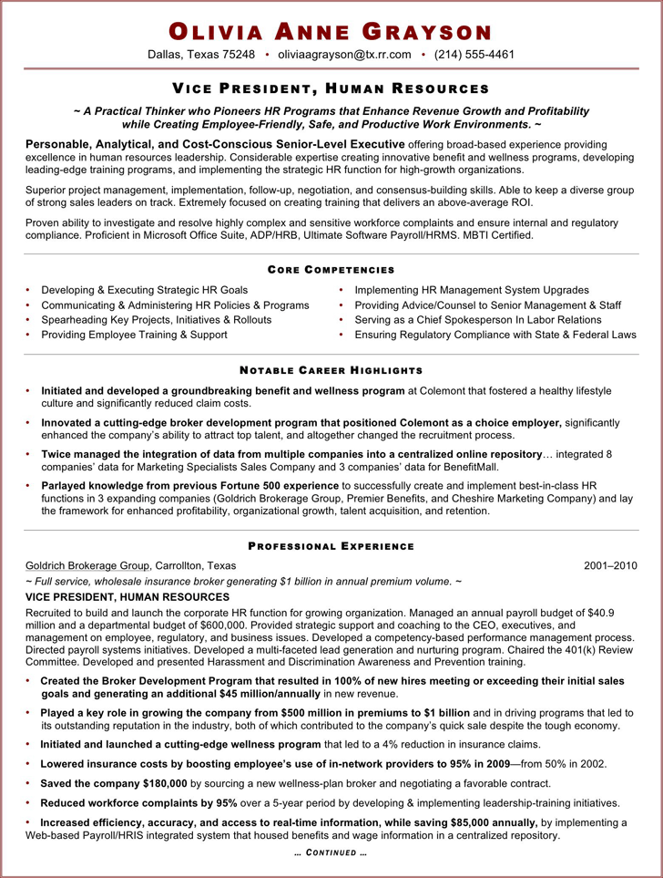 Executive Resume Sample For HR VP