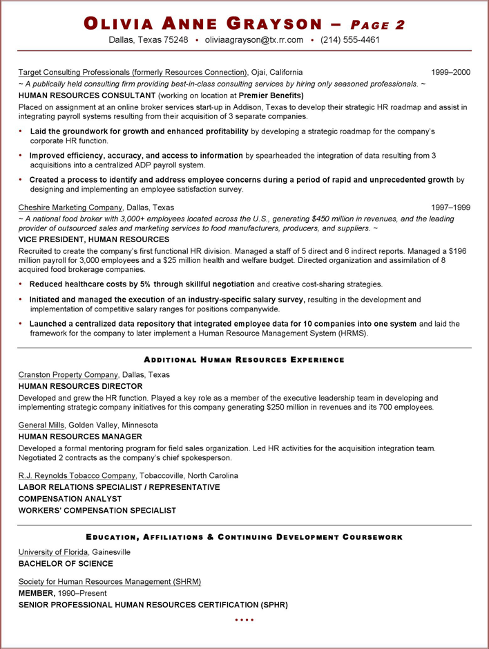 free executive resume sample for hr vp