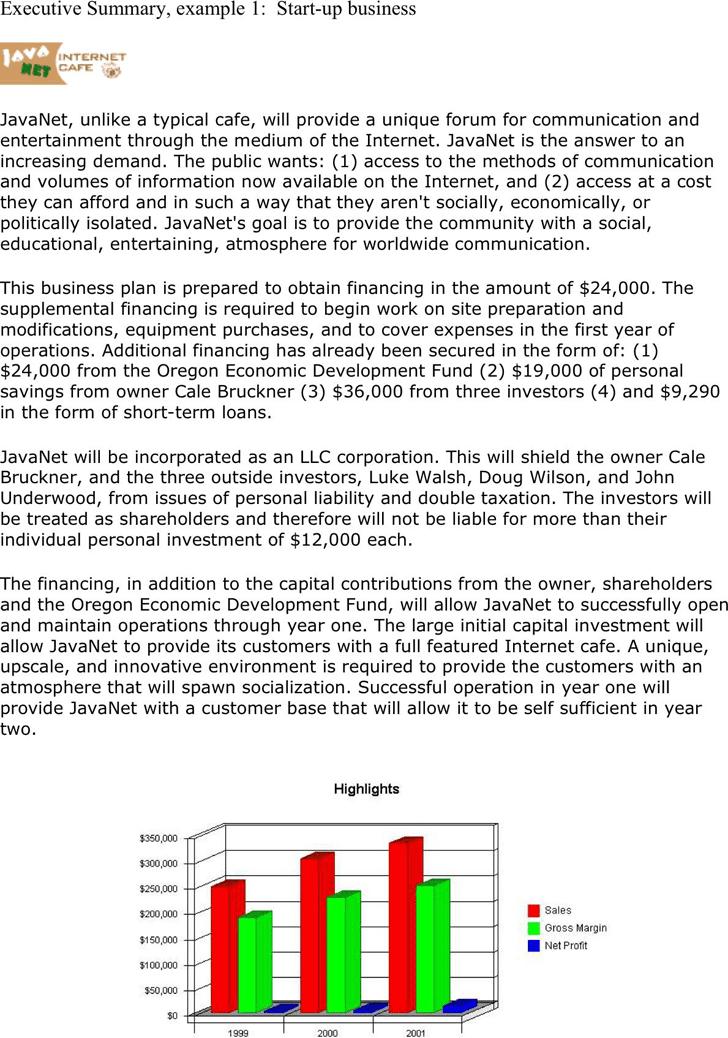 executive summary example template