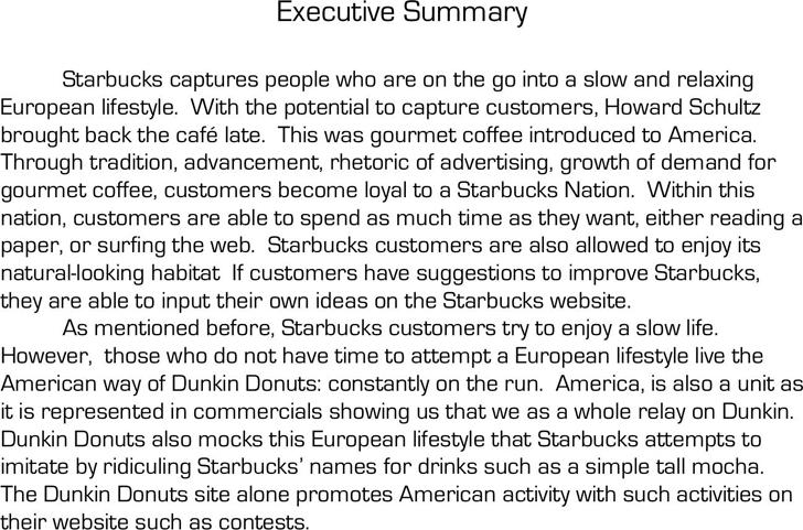 template of an executive summary