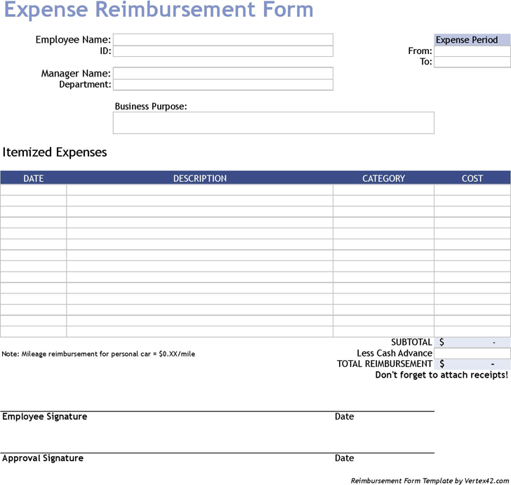 Expense Reimbursement Template Free Template Download Customize And Print