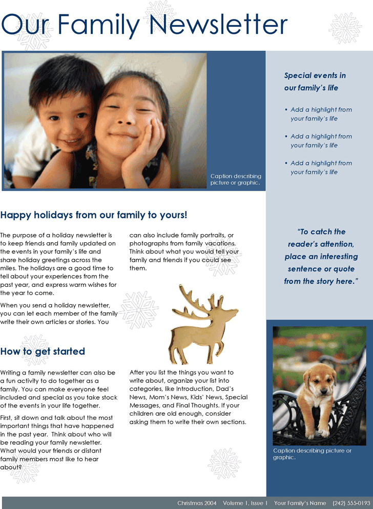 Family Newsletter Template Template Free Download Speedy Template