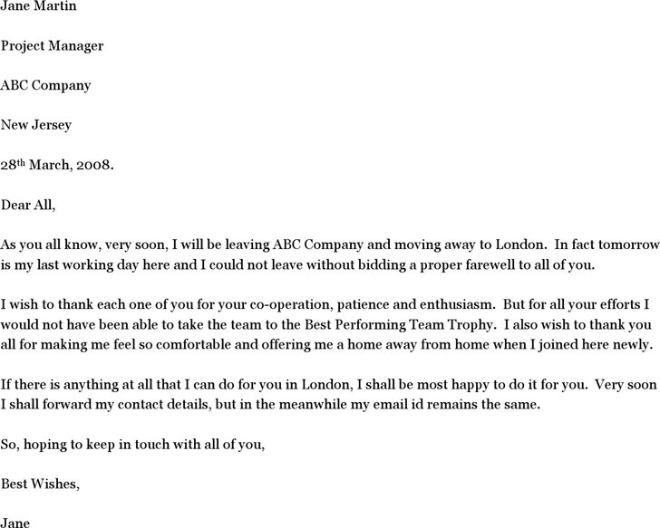 Goodbye Letter Template