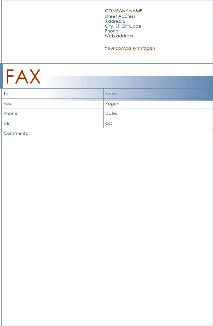Fax Cover Sheet Blue Design