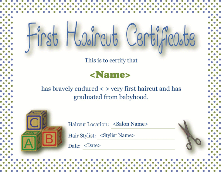 First Haircut Certificate Template Free Download Speedy Template