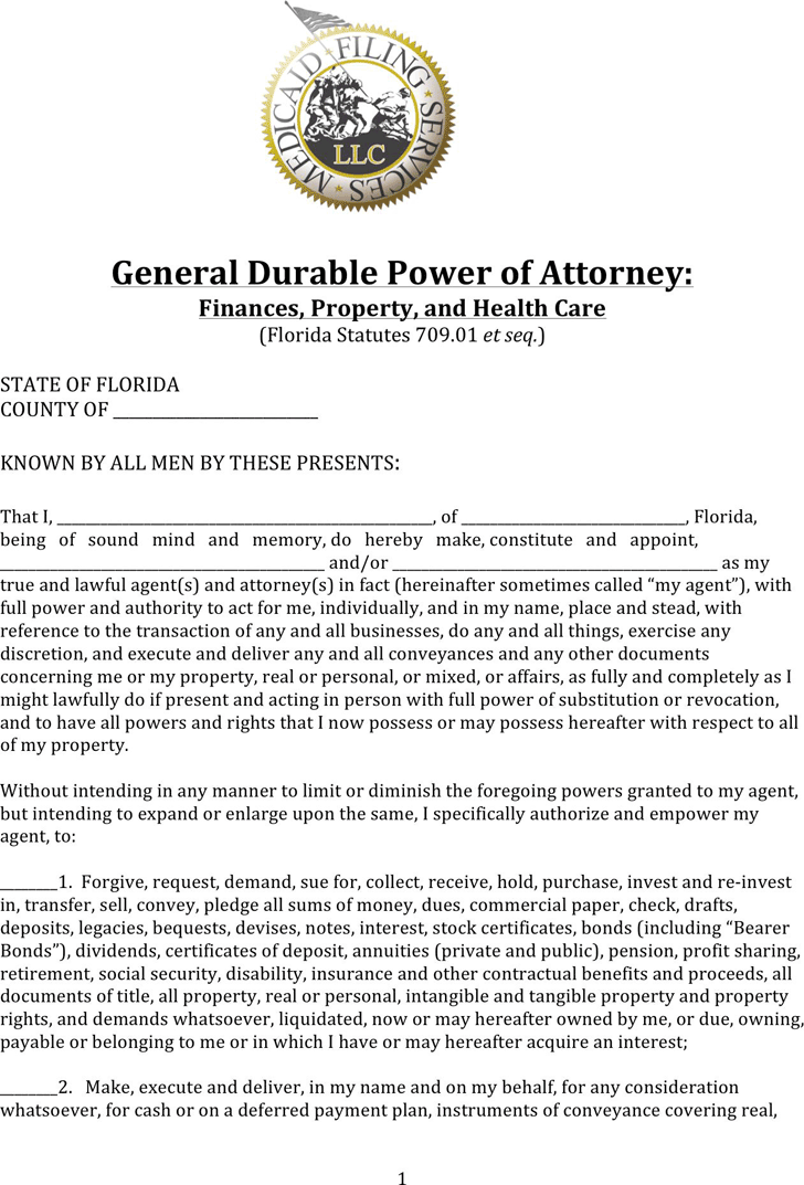Free Florida Durable Power Of Attorney Form For Finances Property