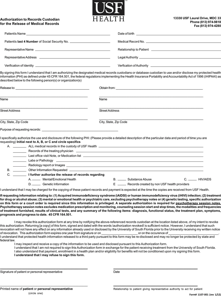 Florida Medical Records Release Form 1