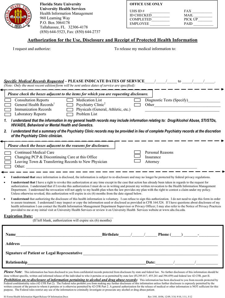 authorization to release medical records form template